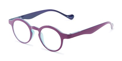 Angle of The Cruller in Dark Purple, Women's and Men's Round Reading Glasses