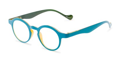 Angle of The Cruller in Blue, Women's and Men's Round Reading Glasses