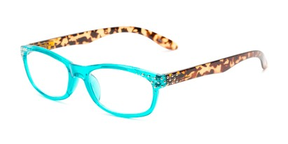 Angle of The Cybil in Aqua Blue/Tortoise, Women's Rectangle Reading Glasses