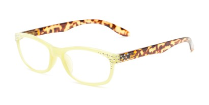 Angle of The Cybil in Yellow/Tortoise, Women's Rectangle Reading Glasses