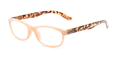 Angle of The Cybil in Pink/Tortoise, Women's Rectangle Reading Glasses