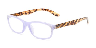 Angle of The Cybil in Purple/Tortoise, Women's Rectangle Reading Glasses