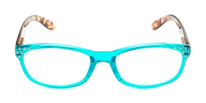 Front of The Cybil in Aqua Blue/Tortoise