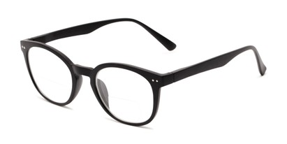 Angle of The Cyrus Bifocal in Matte Black, Women's and Men's Round Reading Glasses