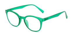 Angle of The Cyrus Bifocal in Matte Green, Women's and Men's Round Reading Glasses