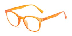 Angle of The Cyrus Bifocal in Matte Orange, Women's and Men's Round Reading Glasses