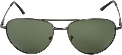 Front of The Maverick Unmagnified Sunglasses in Grey with Green