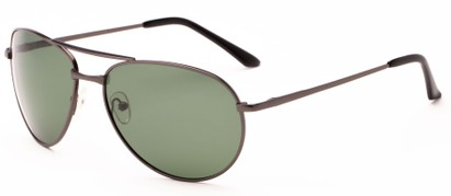 Angle of The Maverick Unmagnified Sunglasses in Grey with Green, Women's and Men's Aviator Sunglasses