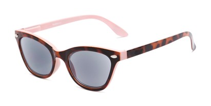 Angle of The Daffodil Reading Sunglasses in Tortoise/Pink with Smoke, Women's Cat Eye Reading Sunglasses