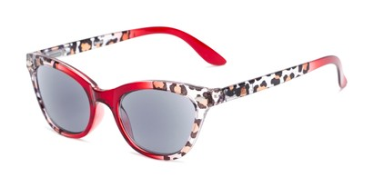 Angle of The Daffodil Reading Sunglasses in Red/Leopard with Smoke, Women's Cat Eye Reading Sunglasses