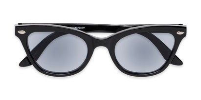 Folded of The Daffodil Reading Sunglasses in Black with Smoke