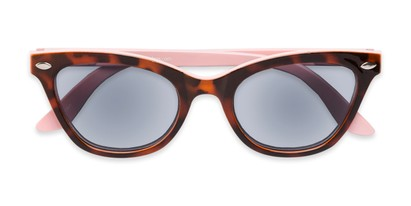 Folded of The Daffodil Reading Sunglasses in Tortoise/Pink with Smoke
