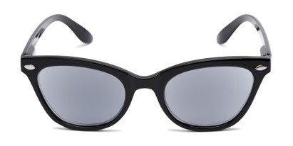 Front of The Daffodil Reading Sunglasses in Black with Smoke
