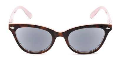 Front of The Daffodil Reading Sunglasses in Tortoise/Pink with Smoke