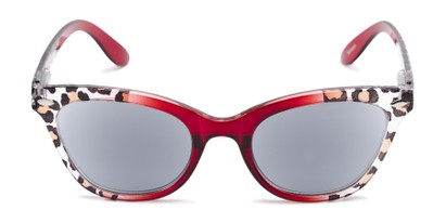 Front of The Daffodil Reading Sunglasses in Red/Leopard with Smoke