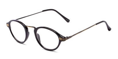 Angle of The Daffron in Black with Gold, Women's and Men's Retro Square Reading Glasses