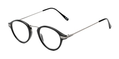 Angle of The Daffron in Black with Silver, Women's and Men's Retro Square Reading Glasses