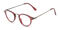 Angle of The Daffron in Dark Red with Gold, Women's and Men's Retro Square Reading Glasses