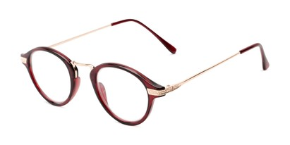 Angle of The Daffron in Dark Red with Rose Gold, Women's and Men's Retro Square Reading Glasses