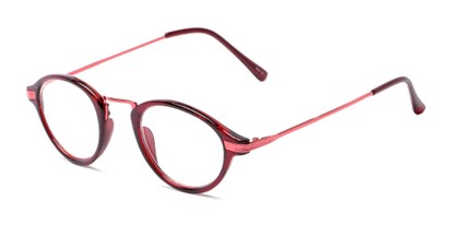 Angle of The Daffron in Dark Red with Red, Women's and Men's Retro Square Reading Glasses