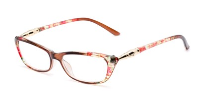 Angle of The Dahlia in Brown/Pink Floral, Women's Cat Eye Reading Glasses