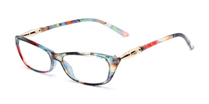 Angle of The Dahlia in Rainbow Floral, Women's Cat Eye Reading Glasses