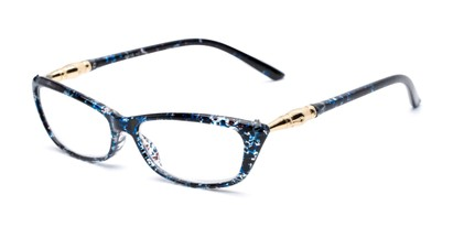 Angle of The Dahlia in Red/Blue Splatter, Women's Cat Eye Reading Glasses
