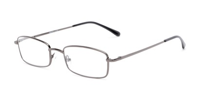 Angle of The Dakota in Matte Grey, Men's Rectangle Reading Glasses