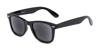 Angle of The Dallas Reading Sunglasses in Black with Smoke, Women's and Men's Retro Square Reading Sunglasses