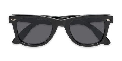 Folded of The Dallas Reading Sunglasses in Black with Smoke