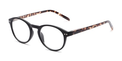 Angle of The Dandelion in Matte Black/Tortoise, Women's and Men's Round Reading Glasses