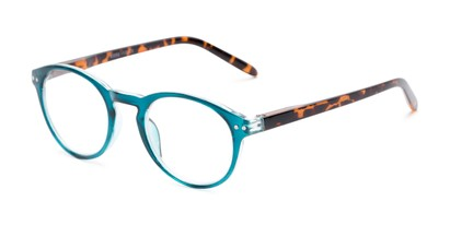 Angle of The Dandelion in Glossy Teal/Tortoise, Women's and Men's Round Reading Glasses