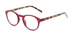 Angle of The Dandelion in Matte Red/Tortoise, Women's and Men's Round Reading Glasses