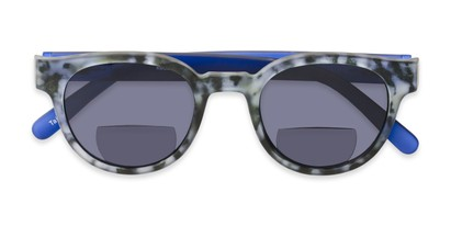 Folded of The Dane Bifocal Reading Sunglasses in Matte Black Tortoise/Blue with Smoke