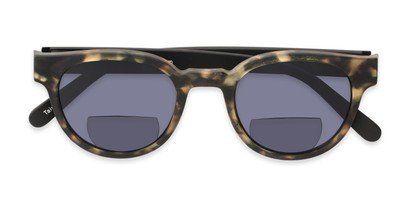 Folded of The Dane Bifocal Reading Sunglasses in Matte Brown Tortoise/Black with Smoke