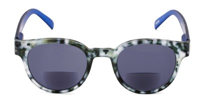 Front of The Dane Bifocal Reading Sunglasses in Matte Black Tortoise/Blue with Smoke