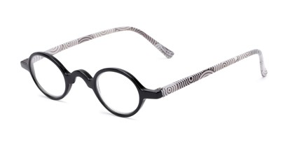 Angle of The Daria in Black with Black/White, Women's Round Reading Glasses