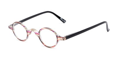 Angle of The Daria in Red/Yellow Stripe with Black, Women's Round Reading Glasses