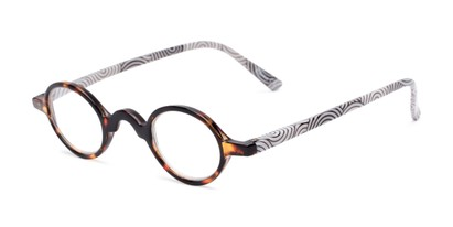 Angle of The Daria in Tortoise with Black/White, Women's Round Reading Glasses