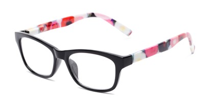 Angle of The Darlene in Black/Floral, Women's Rectangle Reading Glasses