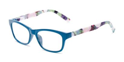 Angle of The Darlene in Blue/Floral, Women's Rectangle Reading Glasses