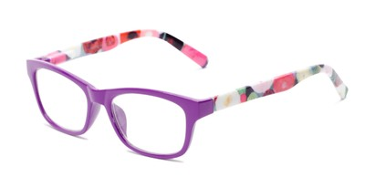 Angle of The Darlene in Purple/Floral, Women's Rectangle Reading Glasses