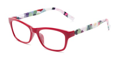 Angle of The Darlene in Red/Floral, Women's Rectangle Reading Glasses