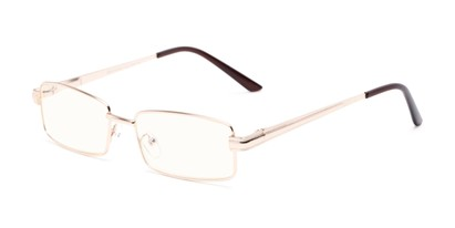 Angle of The Dash Computer Reader in Gold, Women's and Men's Rectangle Reading Glasses