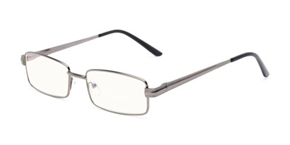 Angle of The Dash Computer Reader in Gunmetal, Women's and Men's Rectangle Reading Glasses