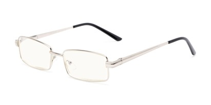 Angle of The Dash Computer Reader in Silver, Women's and Men's Rectangle Reading Glasses
