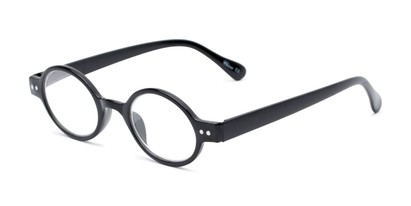 Angle of The Davey in Black, Women's and Men's Round Reading Glasses