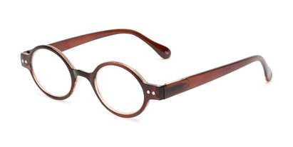 Angle of The Davey in Brown, Women's and Men's Round Reading Glasses