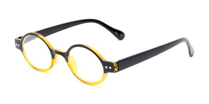 Angle of The Davey in Black/Yellow, Women's and Men's Round Reading Glasses