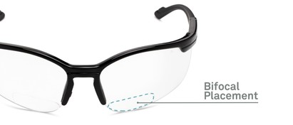 Detail of The David Bifocal Safety Glasses in Black with Clear Lenses